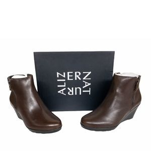 Naturalizer Brown Landry Leather Wedge Booties 7